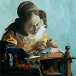The lacemaker - Reproduction of a painting after Vermmer